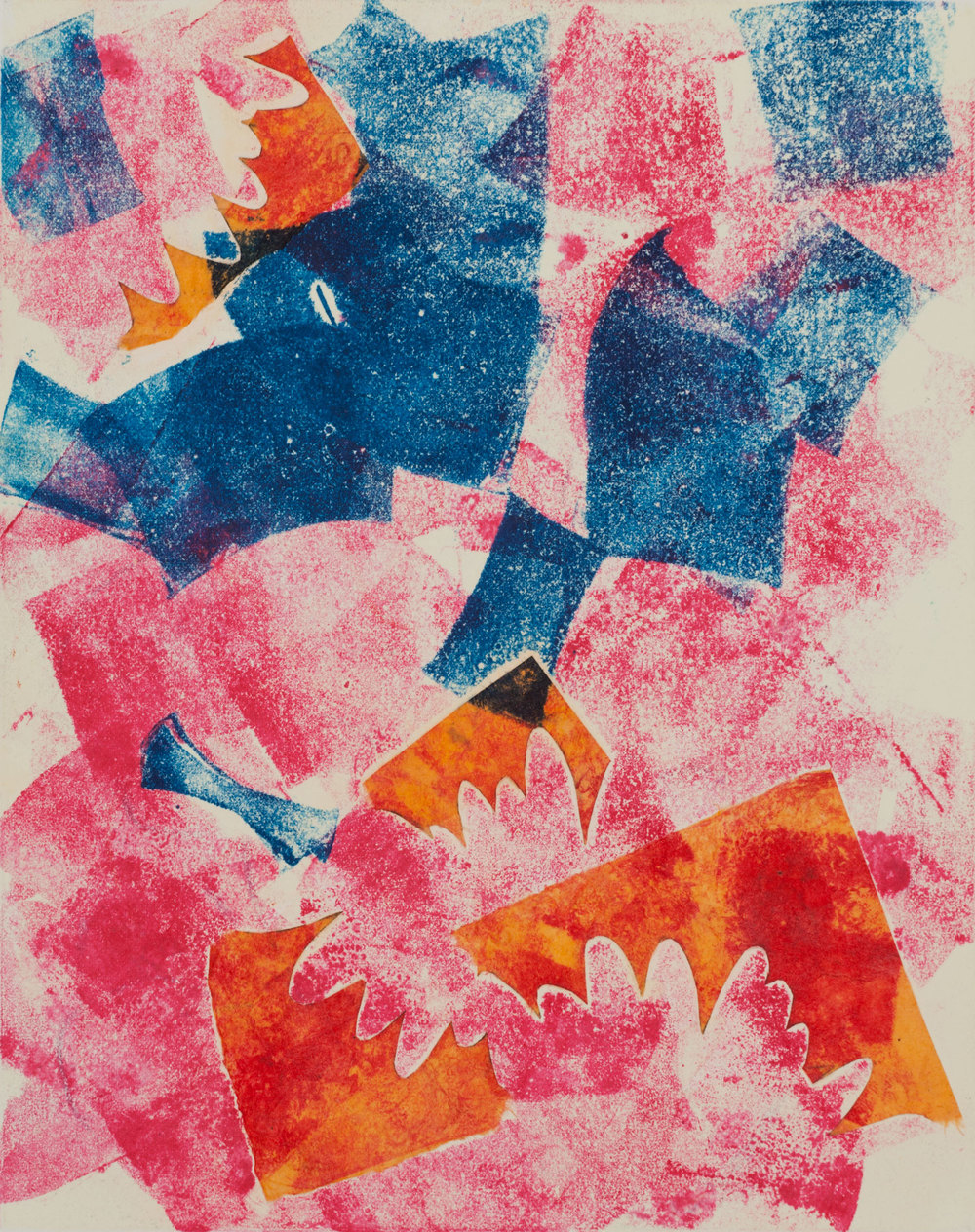 Chysanthemum , 2013, monoprint with collage, 8 x 10""