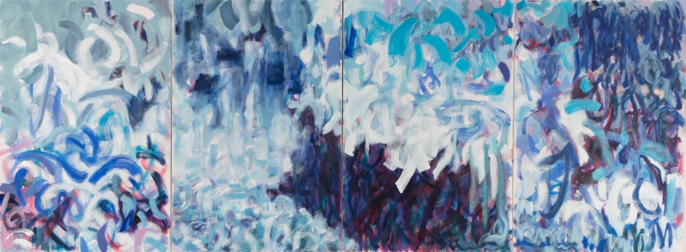 "Splash , 2015,  oil on canvas, 96 x 36"" quadriptych"