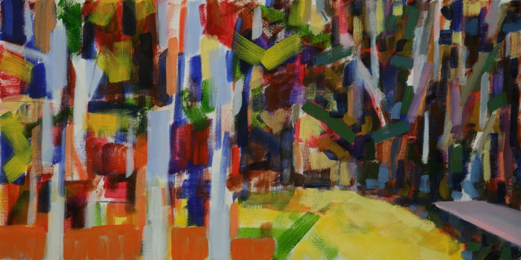 "Yellow Pond , 2010, oil on canvas, 15 x 30""   return to menu"