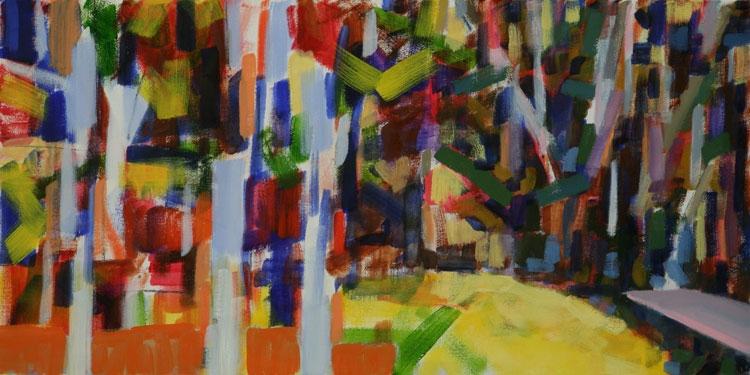 "Yellow Pond , 2010, oil on canvas, 15 x 30""   return to menu"