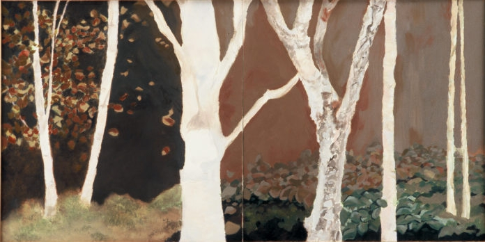 "Backyard birches , 2007, oil on canvas diptych, 48 x 24"", SOLD"