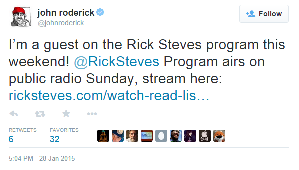 Rick Steves Announcement Tweet