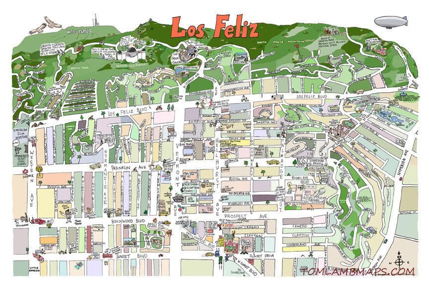 Los Feliz Map Print