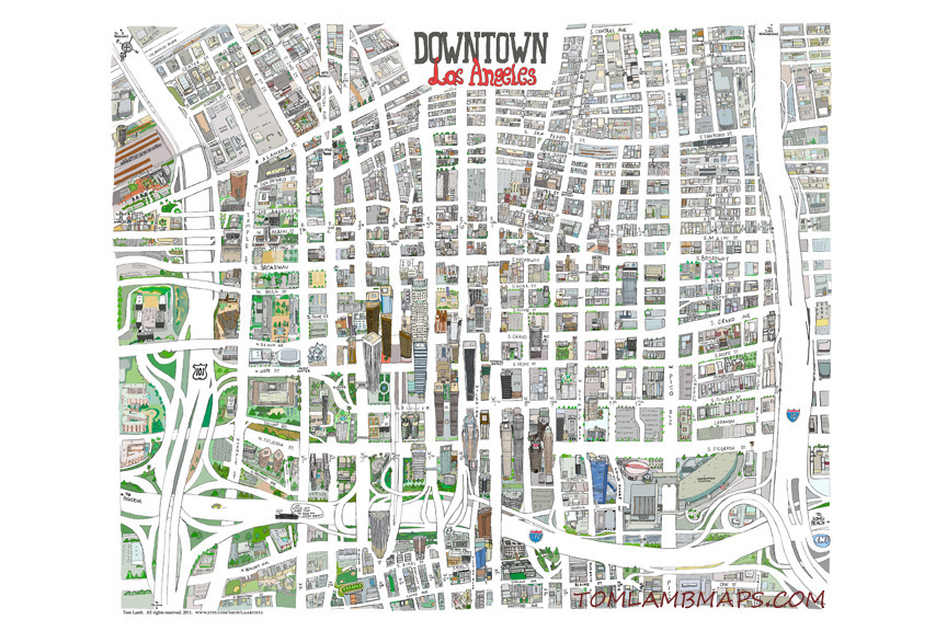 "Downtown L.A.  12""x18"" $32 / 20""x24"" $47   Product info"
