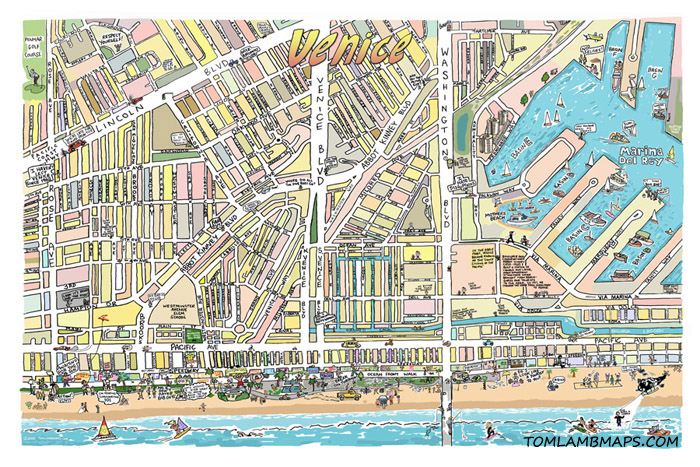 Venice Map Print TOM LAMB MAPS - Venice map image