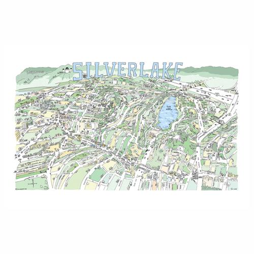Silverlake Los Angeles Map.Silver Lake Map Print Tom Lamb Maps