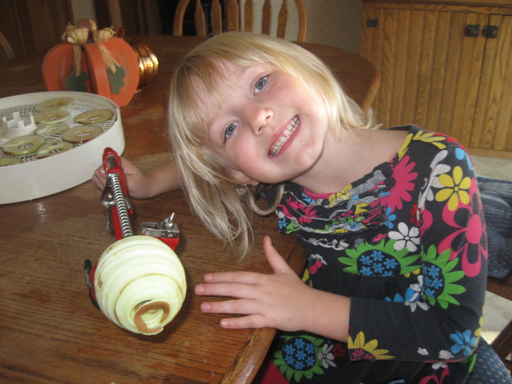 Making dried apple rings with my grand-daughter- Yummy treats!