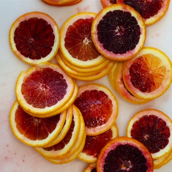Stacked and sliced blood oranges