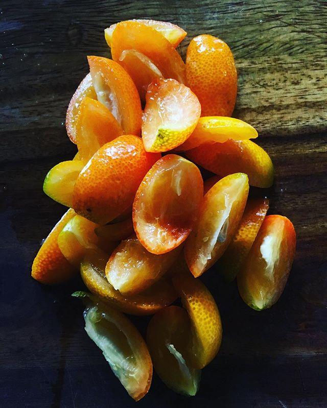 Pitted and quartered kumquats; step one to Padma's Kumquat & Ginger Chutney