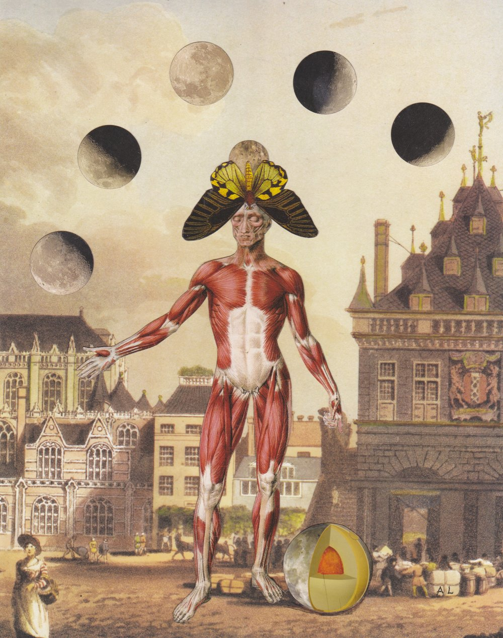 "Lunar Event over Amsterdam, 8"" x 10"" collage on paper, 2016"