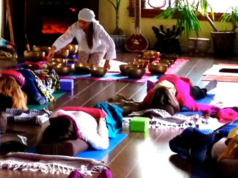 "From our previous ""Spirit Within"" Retreat. Delphine plays a beautiful sound bath for the group."