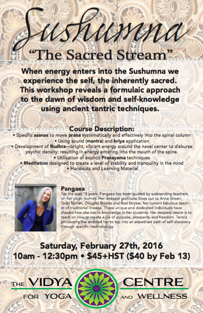 Sushumna - The Sacred Stream - A Workshop With Pangaea — The