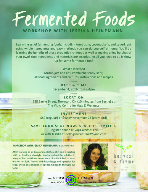 Fermented foods workshop with jessika heinemann rhn the vidya please send e transfer here for 50 plus hst or drop in to the elixir bar at vidyas anytime to register solutioingenieria Image collections