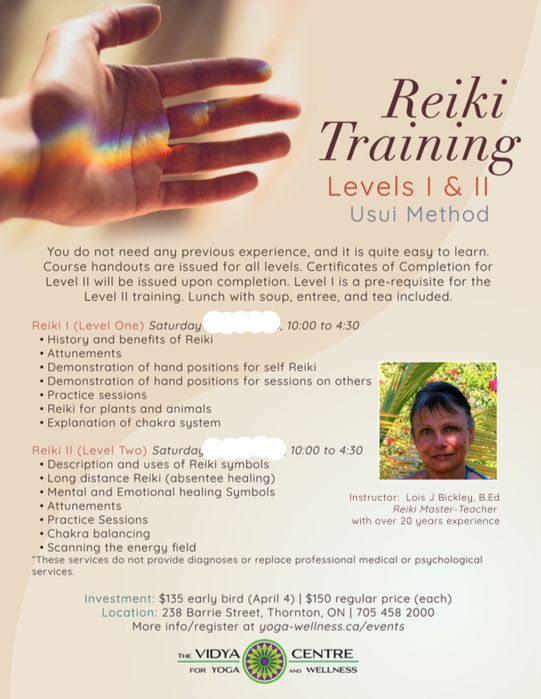 *Please note early bird rate for Reiki Level 2 ends April 11th