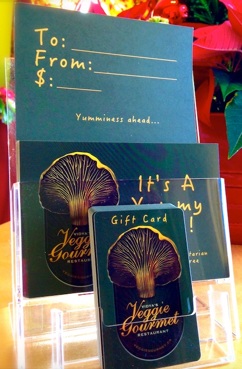Have your gift card mailed to your loved one, or pick up at our Elixir Bar anytime! (Restaurant is closed Mondays and Tuesdays,  however yoga centre is open)    Please    call us    with credit card and mailing information    Use Vidya's gift cards for yoga, wellness services, or restaurant!
