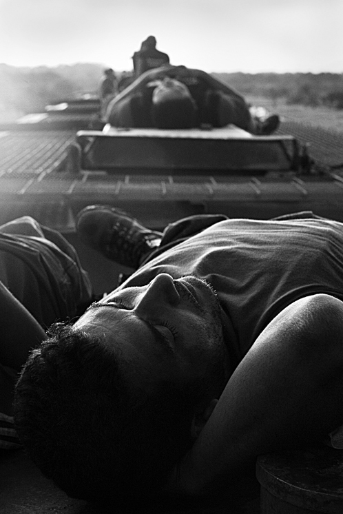 Resting on top of the train.    Chiapas, Mexico. 2007