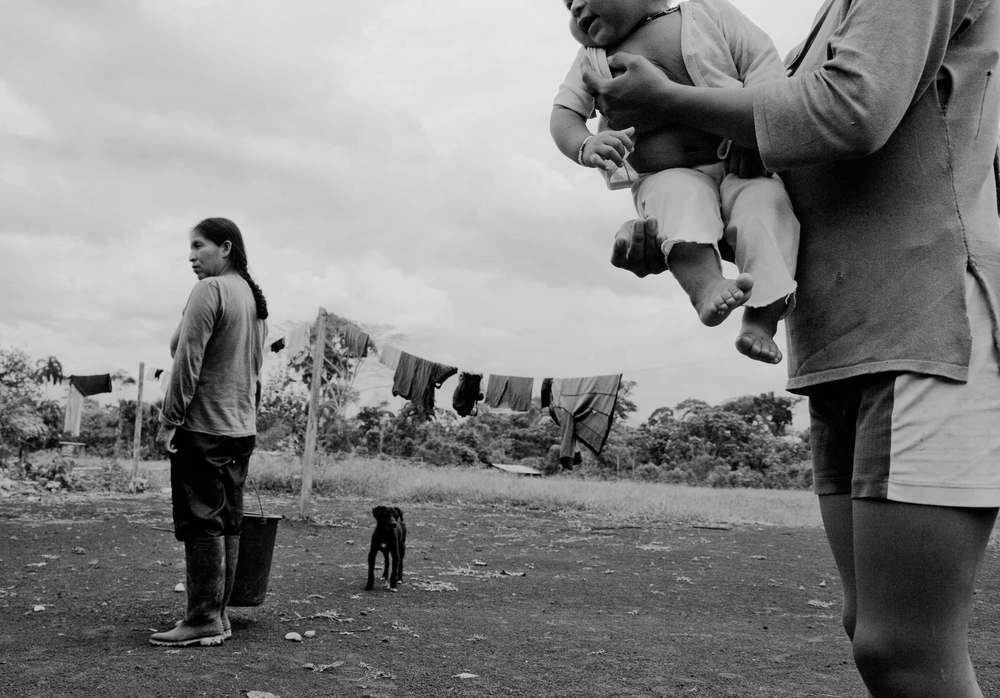 Charip, Ecuador. 2010     An Ecuadorian Shuar indigenous community was displaced due to heavy fighting along the Ecuador-Colombia border as well as the Colombian government's coca eradication campaign through defoliant fumigation.