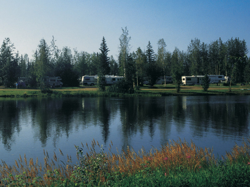 River side RV Camping sites along the  Chena River