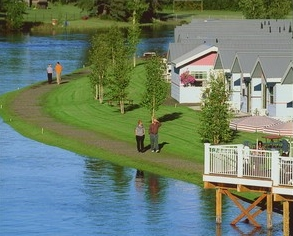 Riverfront Cottages nestled on the Chena river at River's Edge Resort