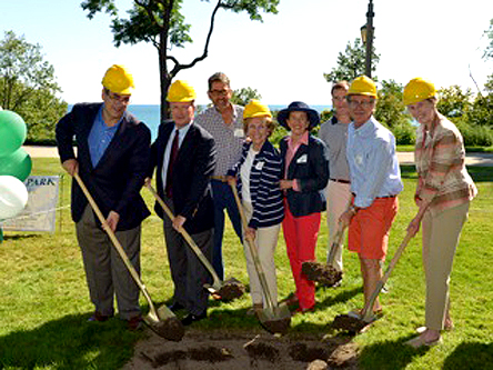 On August 3, 2013 residents and project supporters attended the Forest Park Groundbreaking Ceremony. It was a picture-perfect morning and guests enjoyed the restored vistas while Mayor Don Schoenheider and President Ralph Gesualdo shared the upcoming plans for this historic lakefront park.