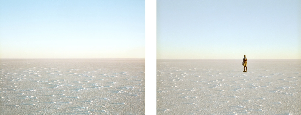Here Today, Gone Tomorrow [#7, Lake Eyre 2013] - Diptych.