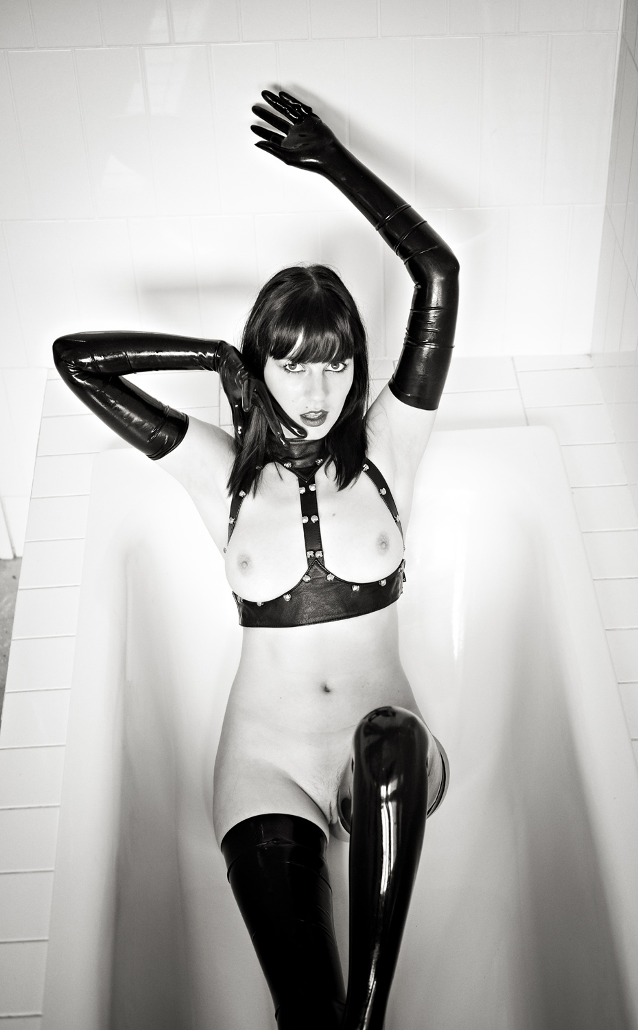 Ivy and her latex bath wear