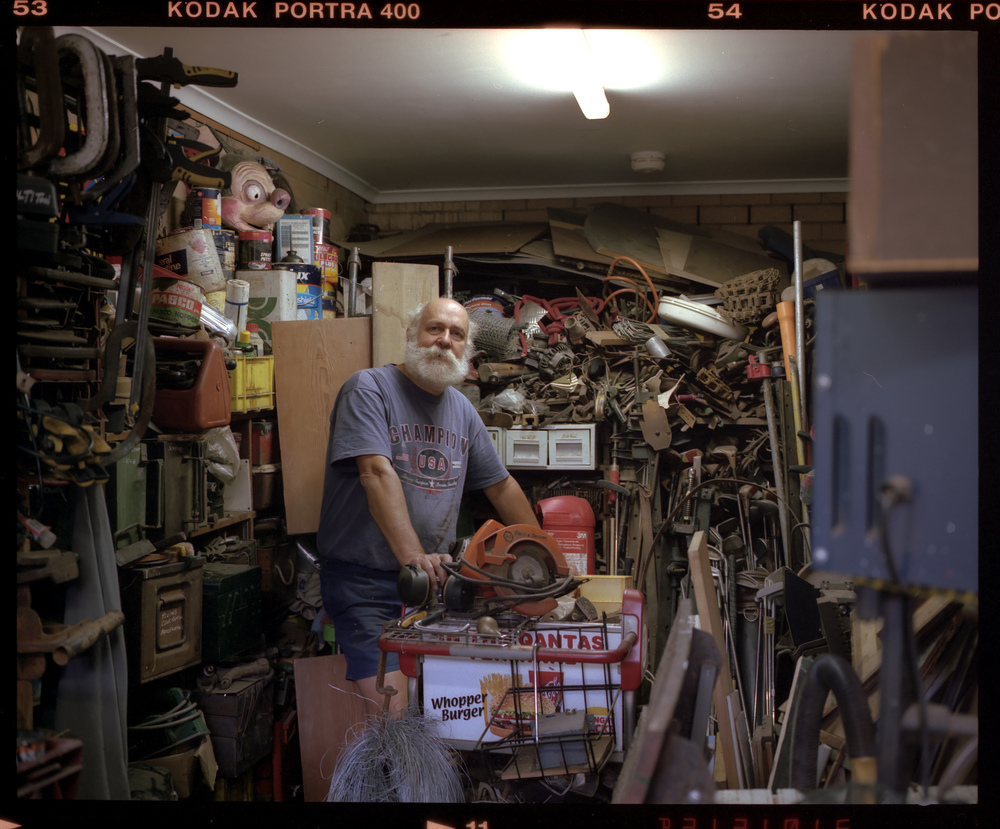 Peter Shoemark - Sculptor, in his 'studio' - from the Blue Mountains Artist Project 2011 - 2012.