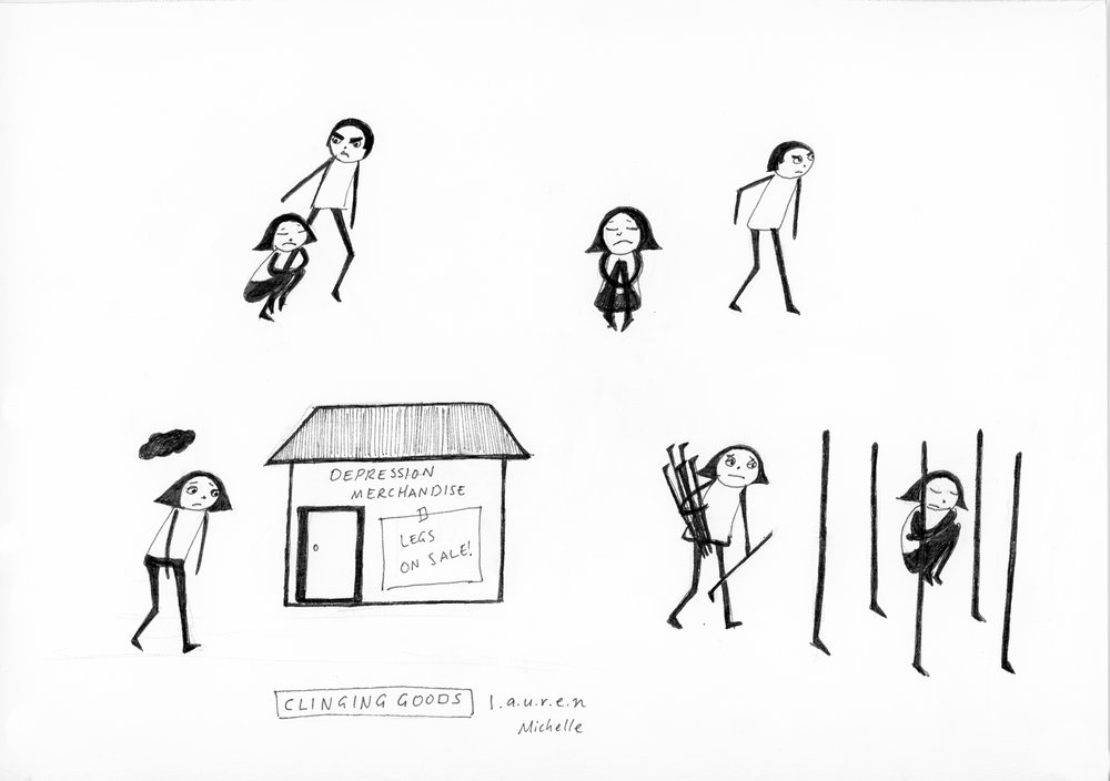 'Clinging Goods' - by Lauren Michelle (ink on cotton rag)