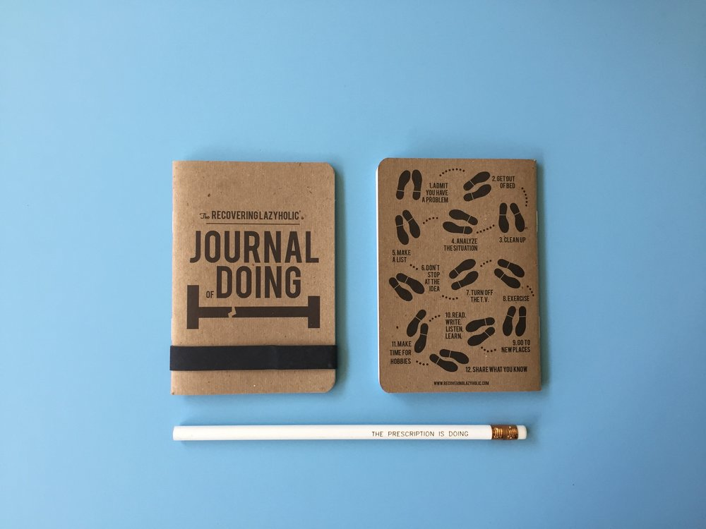 Journal of Doing - Keep track of your daily doing (or to-do's) with this pocket sized notebook. Front and back artwork were created by me, and printed by the good folks at Scout Books. Interior is grid paper and there are 32 pages. Overall size measures 3.5