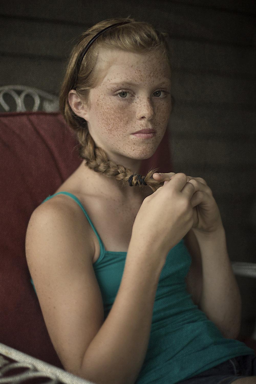 Eilidh holding her braid