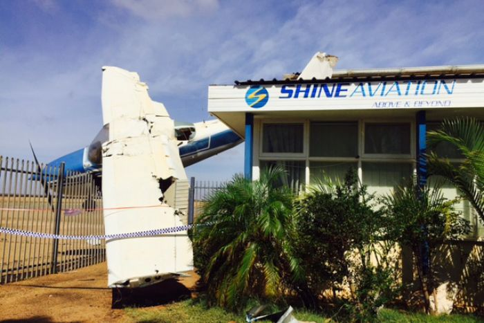 This light plane was damaged in Carnarvon during the cyclone. (Picture: ABC News, Robert Koenig-Luck)