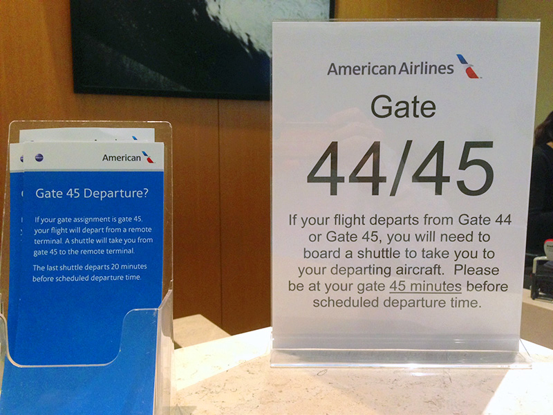 They're not kidding. Gate 45 is confusing at best. We were directed by an American Airlines gate agent to a commuter flight, NOT our flight to Kauai, even after explicitly stating that was our destination.