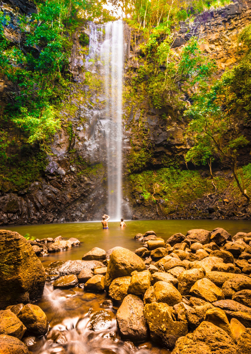 Our destination: Wailua Falls, Kauai. It doesn't get much better than this.
