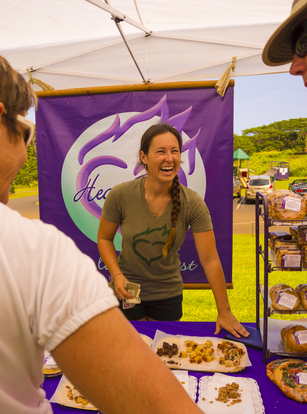 One of the wonderful folks from the Heart Flame Bakery at the Kilauea Farmers Market on Kauai.