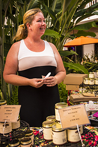 Aletha Thomas of Monkeypod Jams at a local Kauai farmers' market.