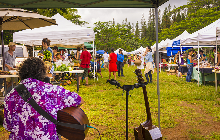 A typical farmer's market on Kaua'i, near the town of Kilauea. It's always a festive occasion, where locals and visitors gather to shop for outstanding fresh fruit and vegetables, and some of the island's wonderful home made products.