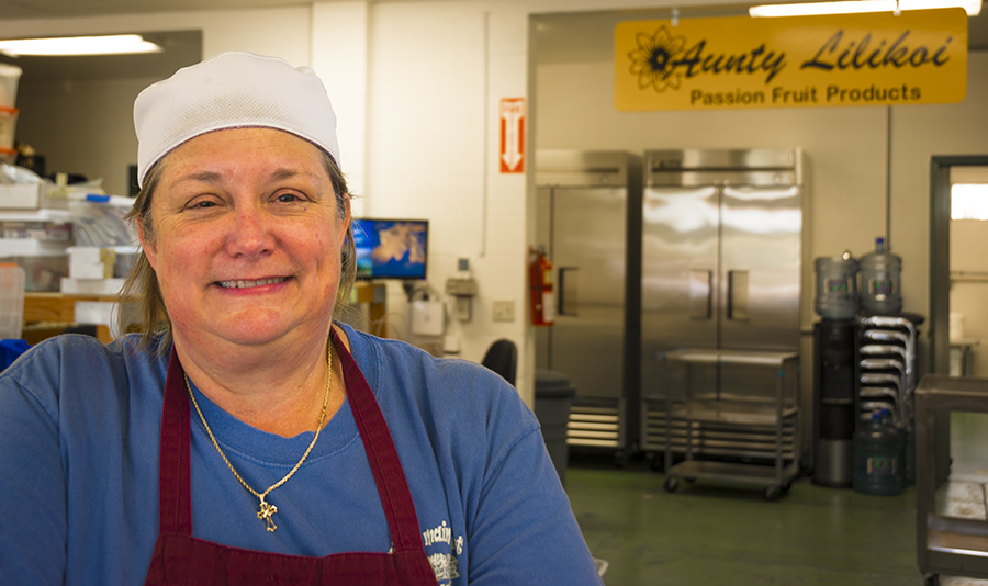 Lori Cardenas is co-owner of Aunty Lilikoi Passion Fruit Products in the Kaua'i town of Waimea. Their line of passion fruit jellies, fruit butters, passion wasabi mustards and body care products are exceptional, all made with an ohana (family) spirit that typifies the small businesses of Kaua'i.