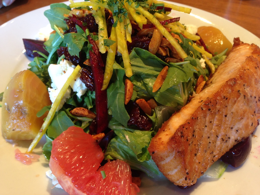 McVean's Dawn Salad (shown with grilled salmon). It's a symphony of healthy culinary happiness.