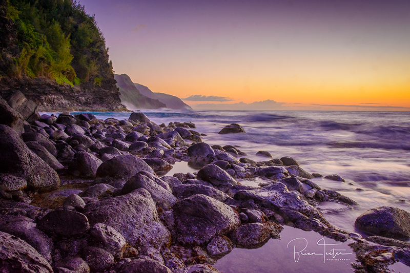 The Nāpali Coast at sunset