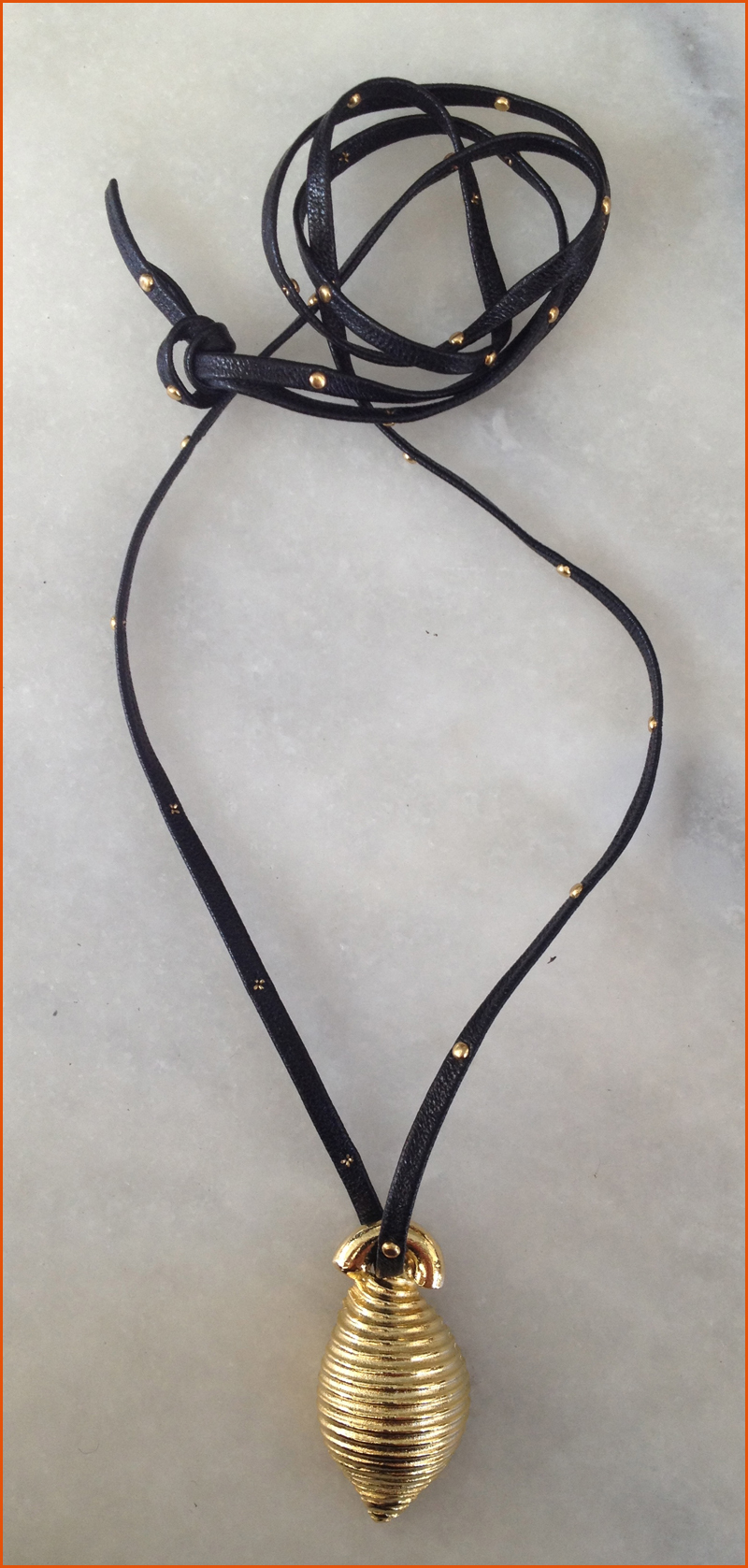 Conchiglie Gold Shell Pendant on studded Licorice Leather SHOP #OHMacaroni