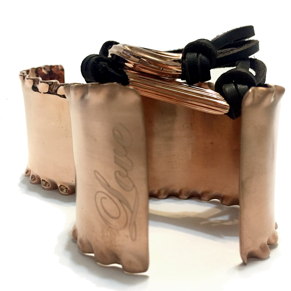 LOVE Cuffs...rose gold, satin or polish. Lasagna. Ruffles. Iconic. Rigatoni & Penne, precious heavy metal on leather or links. Designed in the East Village, Made in Manhattan. Personalized & Custom. ORIGINAL.