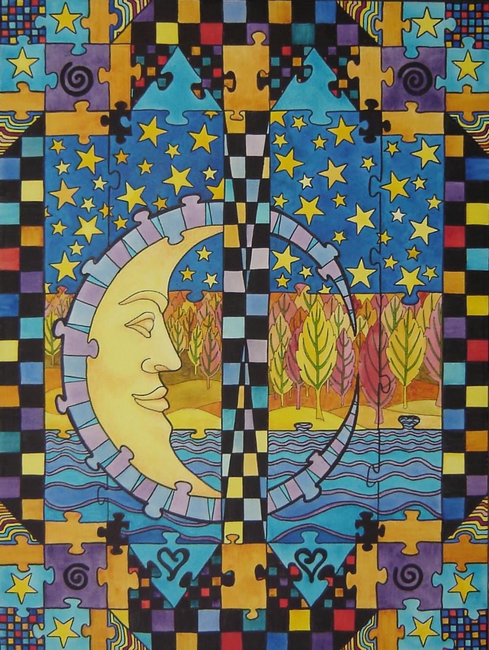 Autumn Crescent Puzzle Moon