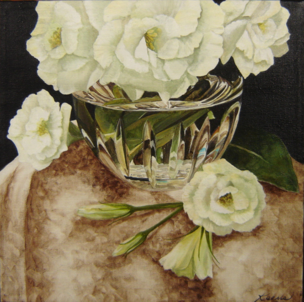 Lisianthus and Crystal Bowl