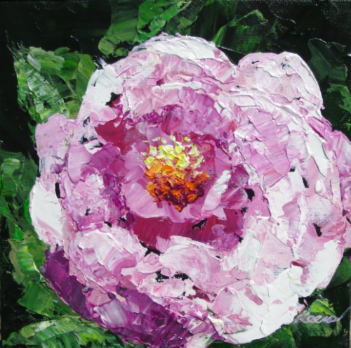 "Peony Demo, 6"" x 6"",  acrylic on panel"