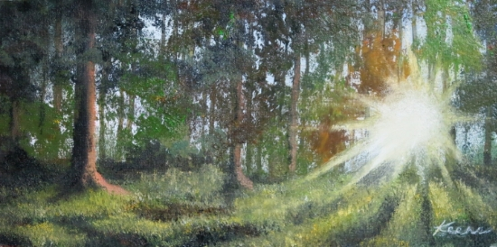"""Sunlit Woods""   4""x 8""  Oil on paper panel   $50"