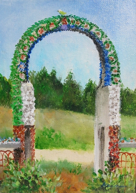 "Wegner Grotto Gate  7"" x 5"" Acrylic on canvas panel"