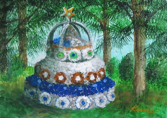 "Anniversary Cake   5"" x 7"" Acrylic on canvas panel  NFS"