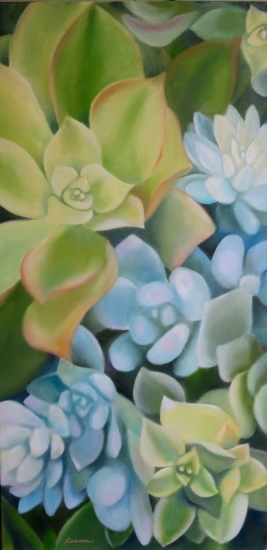 "Succulently   24"" x 12""  Oil on museum wrapped canvas  $350"