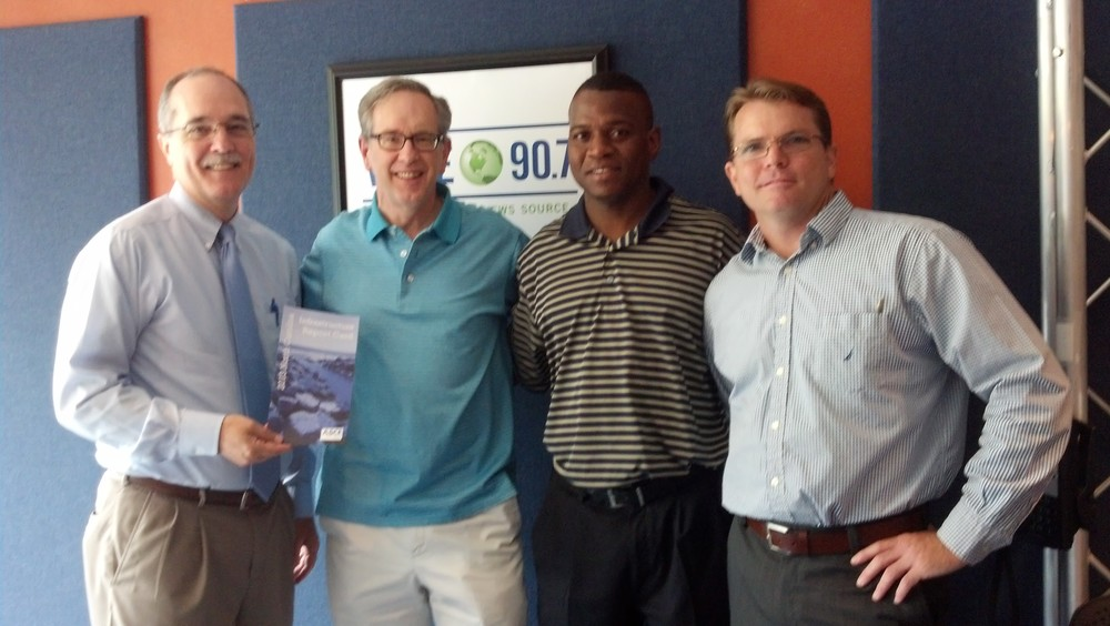 Ron Geiger, Mike Collins (host with WFAE), Louis Mitchell, and David Harris.
