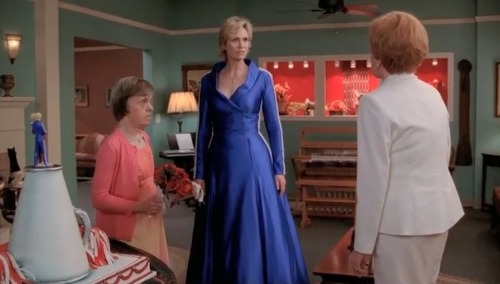 Sue Sylvester A Glee Character Marries Herself In An Electric Blue Adidas Dress
